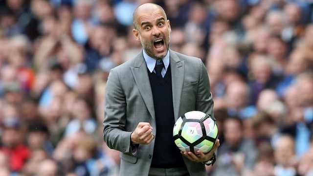 FIRED UP: Pep is pictured on the sidelines during the second half against Leicester.