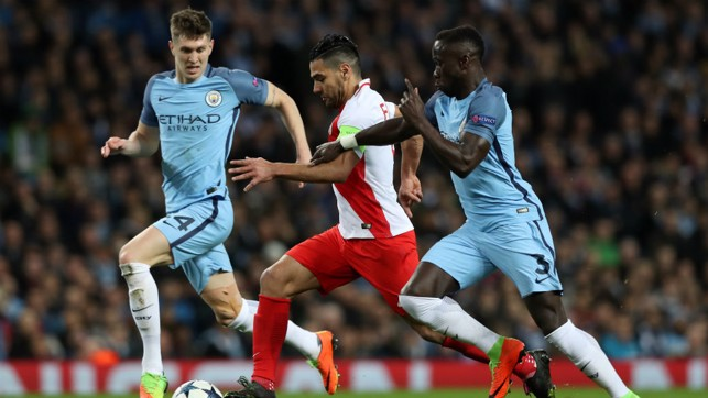 PURSUIT: Stones and Sagna challenge Falcao for the ball