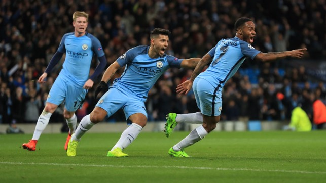 OPENER: Raheem Sterling scores the first goal in a 5-3 win against Monaco in the Champions League