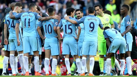 TOGETHER: The players gather to reflect on the 1-1 draw with Southampton