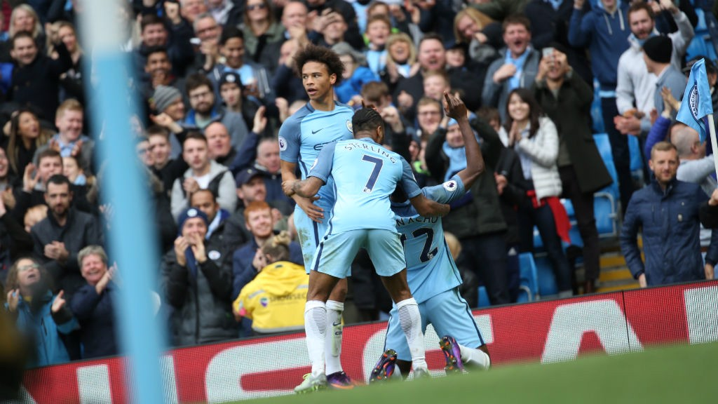 RELIEF: Iheanacho celebrates with Sane