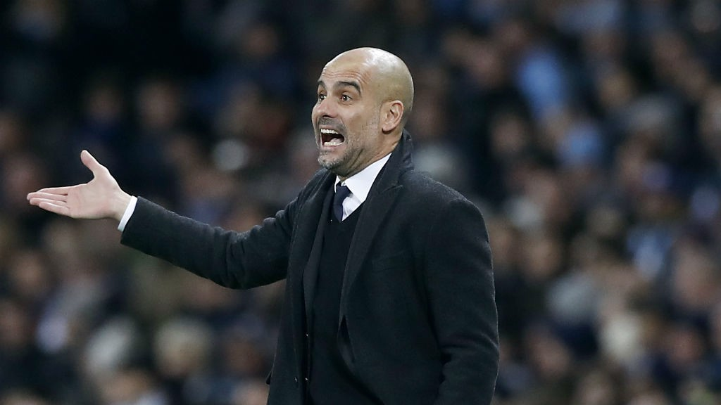 INSTRUCTIONS: Pep Guardiola on the sidelines