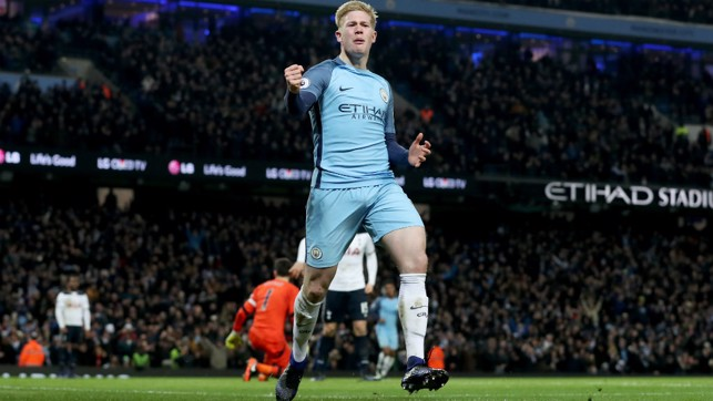 BACK IN THE GOALS: Kevin De Bruyne scores a beauty against Spurs last season at the Etihad