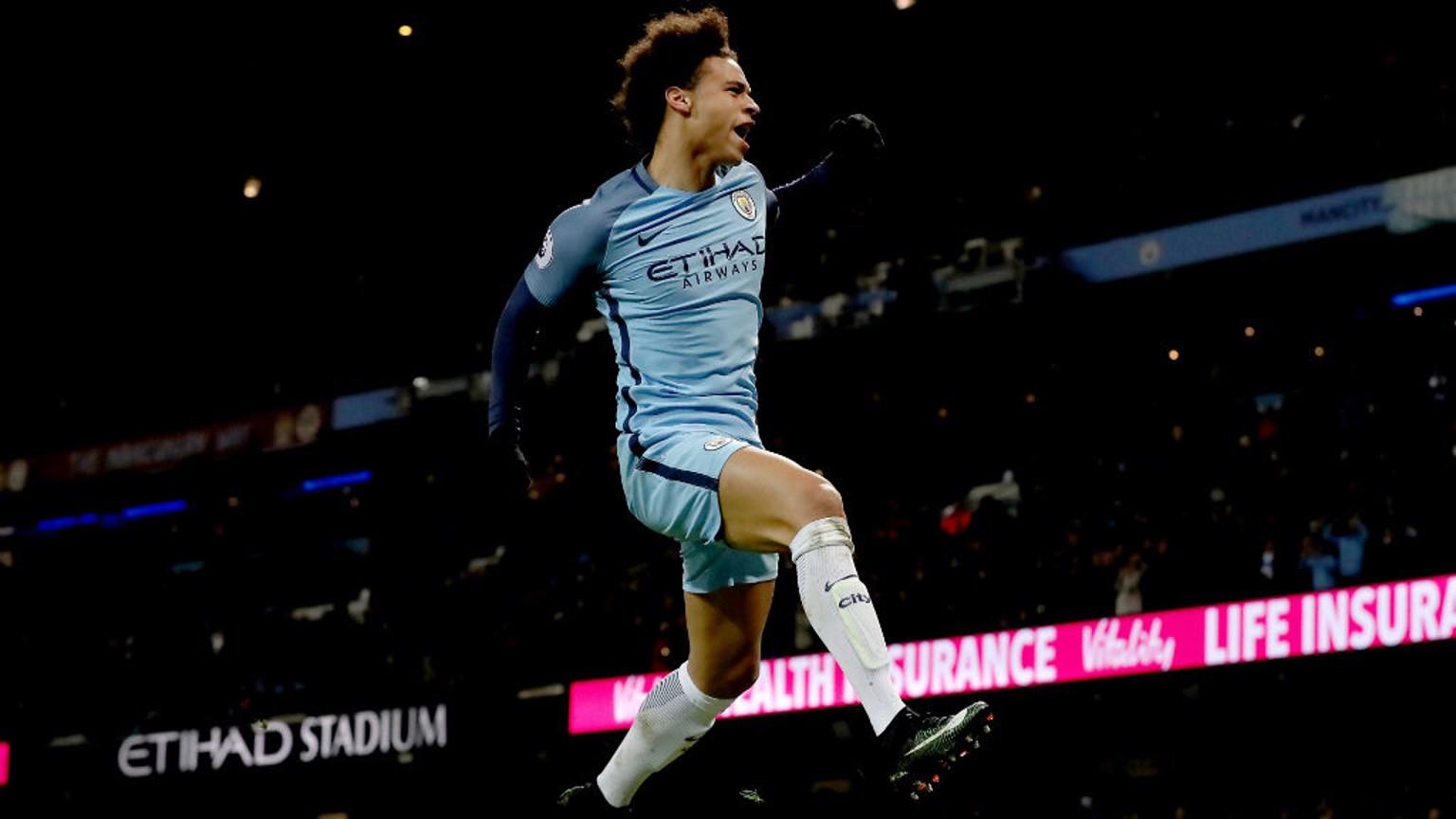 WHAT A FEELING: Leroy Sane celebrates his goal