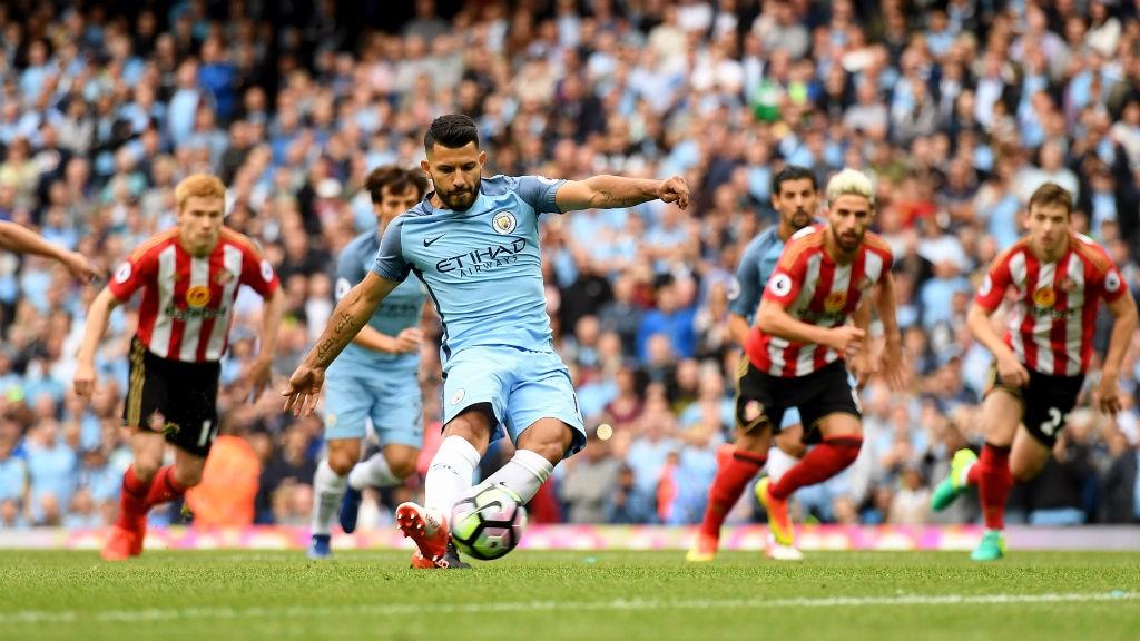 SPOT ON: Sergio Aguero scores