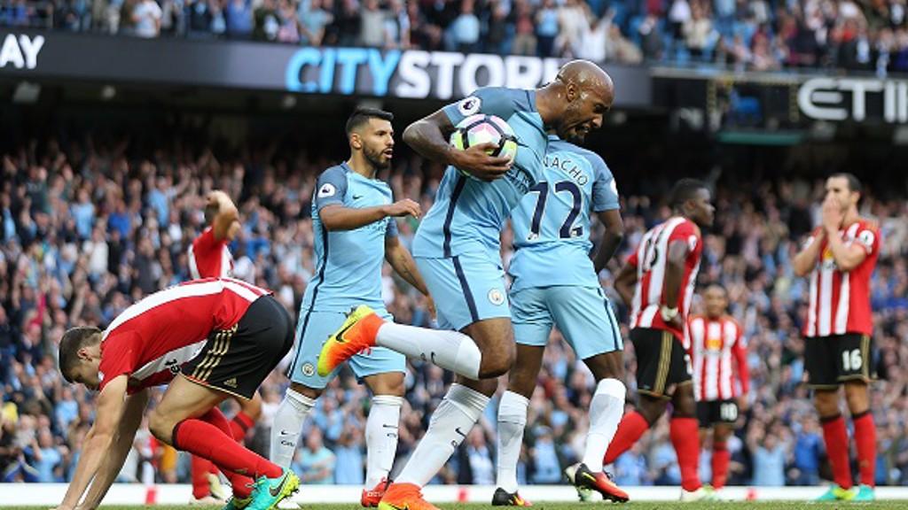 DELPH STRIKE: Fabian's deflected goal gave City a late win against Sunderland last August