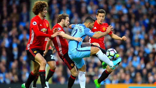 THRILLING: A tight contest between City and United at the Etihad Stadium last season