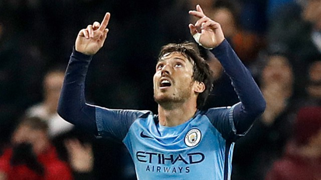 EL MAGO: David Silva celebrates his goal on his 200th Premier League appearance