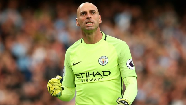 'KEEPING POSITIVE: Willy Caballero celebrates as City go two clear