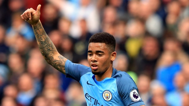 RIGHT PLACE, RIGHT TIME: Gabriel Jesus celebrates the opener