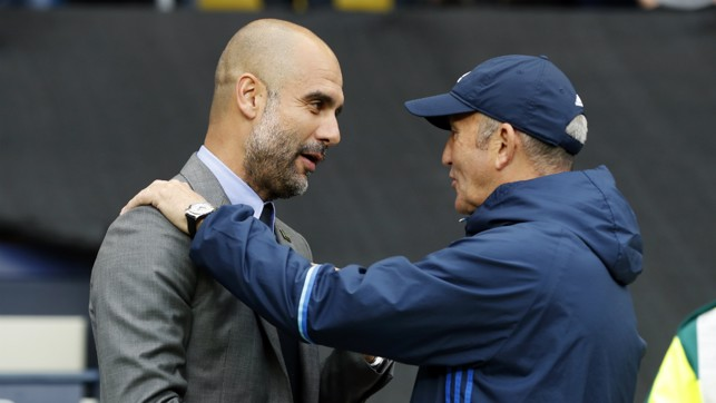 BOSSES: Pep Guardiola and Tony Pulis greet each other pre-match