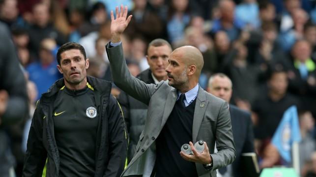 HELLO, HELLO: Pep Guardiola acknowledges the City fans