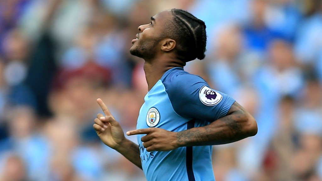 STERLING STRIKE: Raheem opens his account for the season