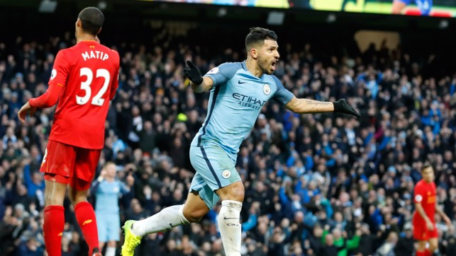 CELEBRATION TIME: Aguero celebrates giving City the lead against Liverpool in an entertaining tie