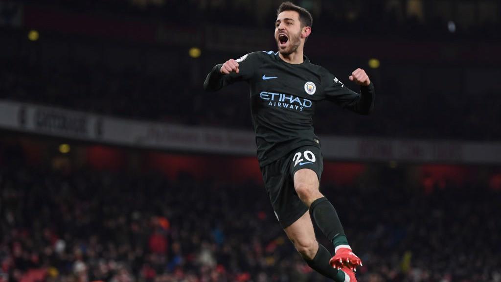 BREAKTHROUGH: Bernardo Silva fires City into the lead with a sumptuous effort into the top corner.