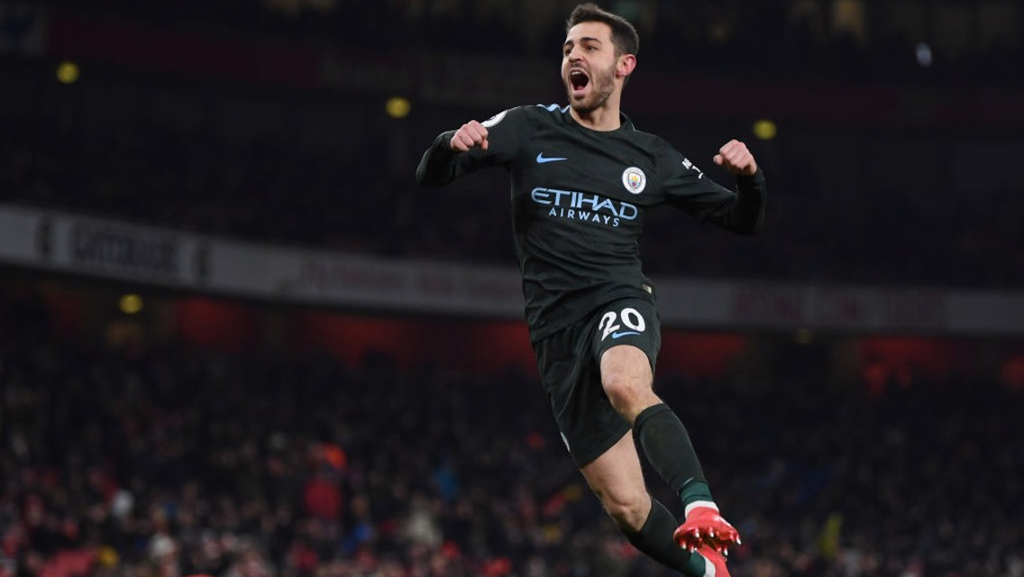 BREAKTHROUGH: Bernardo Silva fires City into the lead with a sumptuous effort into the top corner.