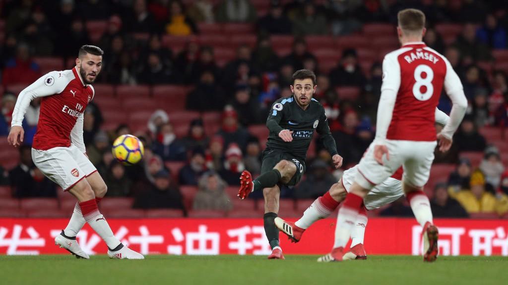 ON THE MONEY: Bernardo Silva lets fly into the top corner.