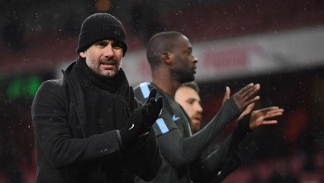 SUCCESS: Pep Guardiola shows his support to the City faithful after a second win in five days against Arsenal