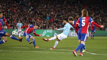 MASTERFUL: Ilkay Gundogan guides City's fourth into the top corner.