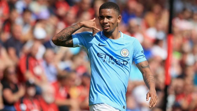 WHO YOU GOING TO CALL?: Gabriel Jesus celebrates with trademark move after leveling the scoring