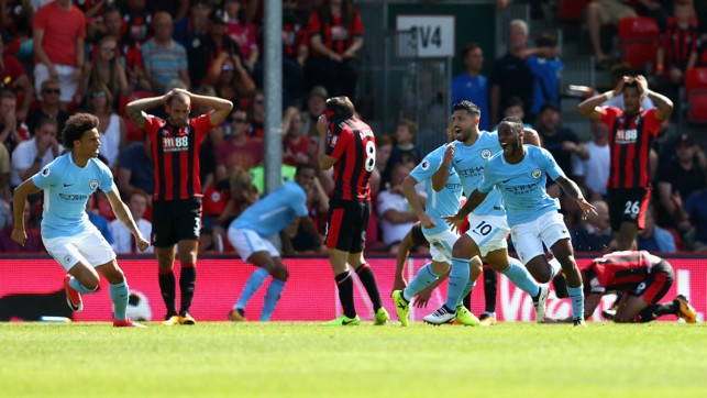 PICTURE TELLS THE STORY: An astonishing end to the game as Sterling snatches all three points at Dean Court
