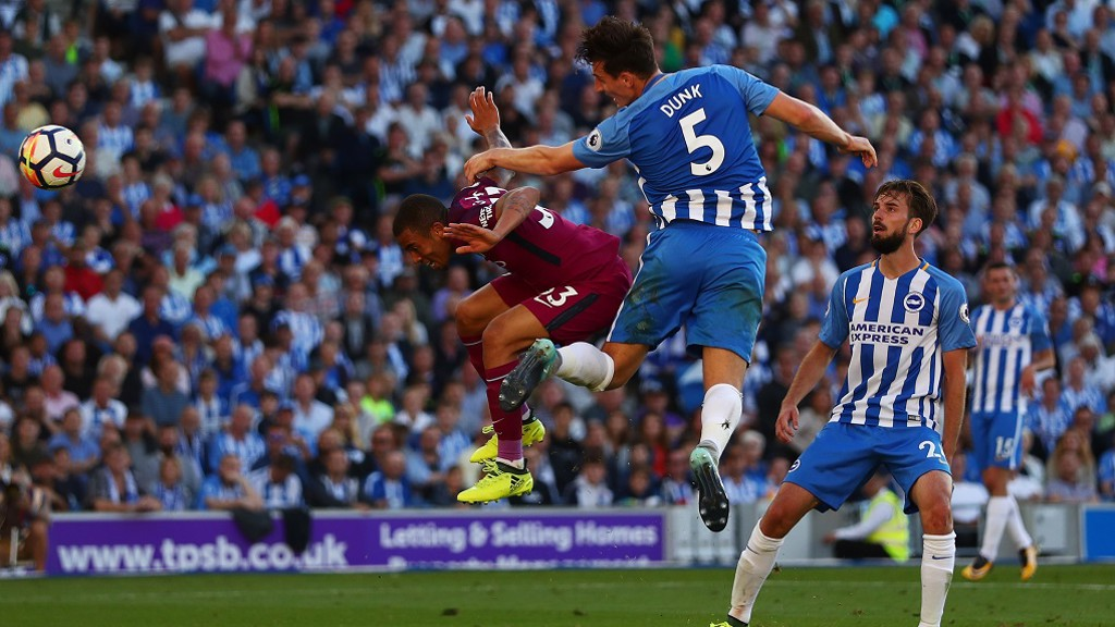OWN GOAL: Lewis Dunk heads City further ahead