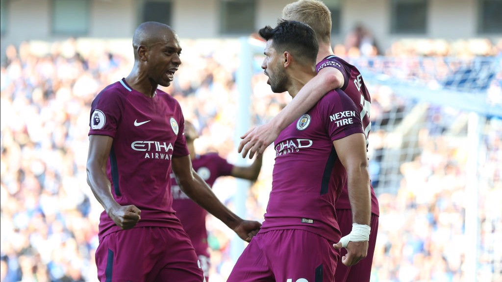 PUMPED UP: Fernandinho joins in the celebrations after Aguero put City 1-0 up at Brighton!