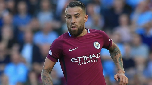 FOCUSED: Nicolas Otamendi is pictured in the first half.