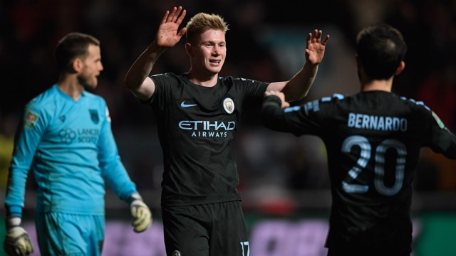THE KING: Fresh from penning his new deal, Kevin De Bruyne caps a special week with a goal - the winner on the night!
