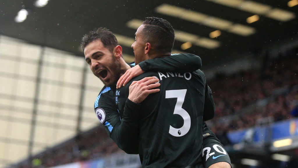 STAR MAN: Danilo and Bernardo Silva celebrate the former's first City away goal_