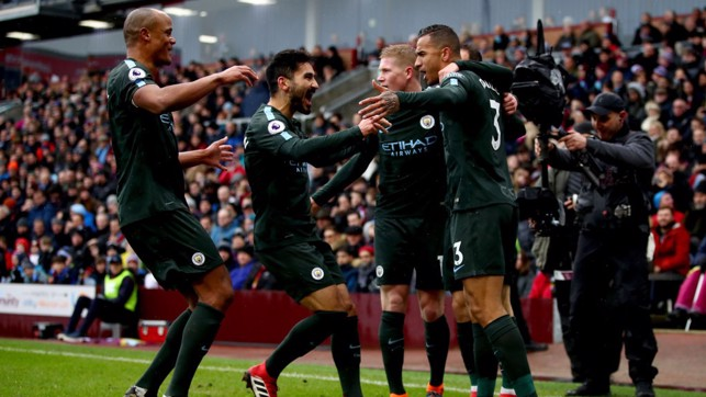​ROCKET: City celebrate Danilo's stunning opener.