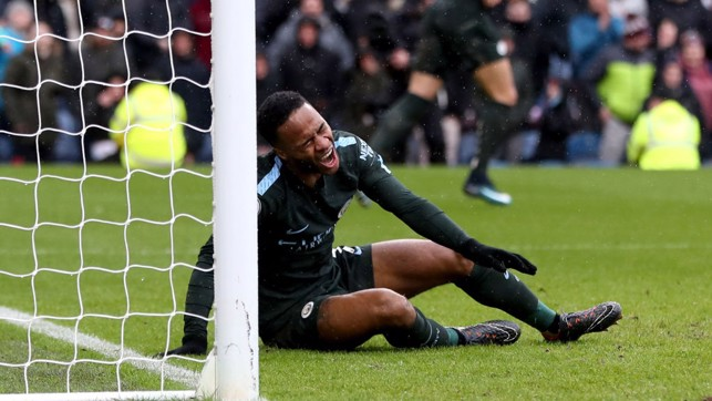 FRUSTRATION: Agonisingly wide from Raheem Sterling.
