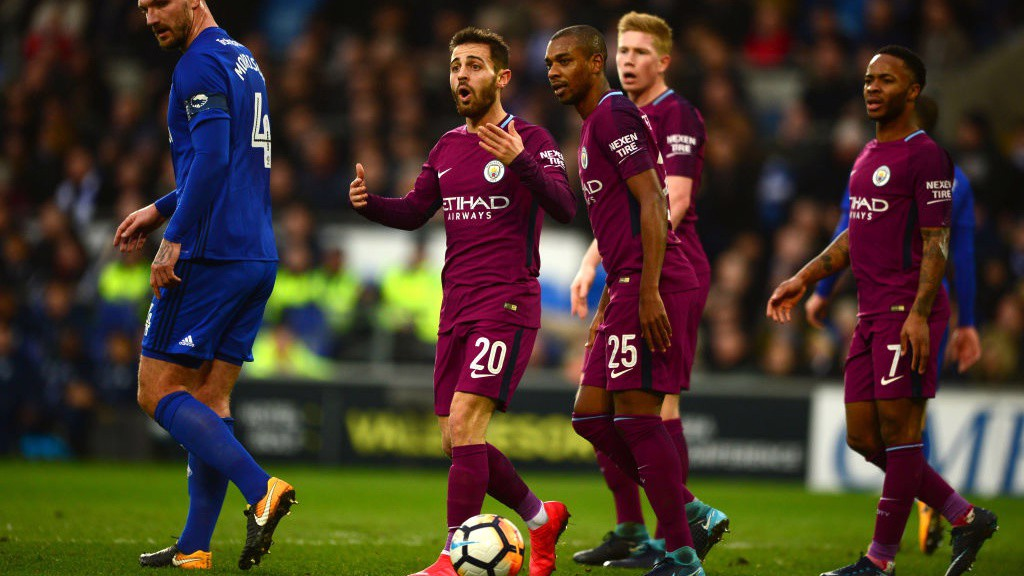 CONTROVERSY: Bernardo Silva reacts to seeing his thunderous effort ruled out for a questionable offside flag.