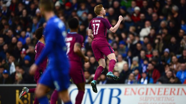 KDB MAGIC: City celebrate Kevin De Bruyne's superb opener.