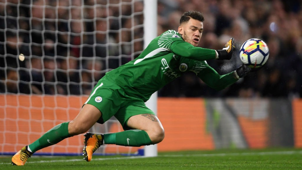 NO ENTRY: Ederson pulls off a fine save to deny Chelsea