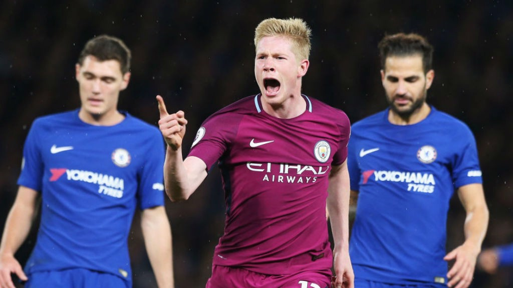 JUST CAPITAL: Kevin De Bruyne starts the celebrations after his stunning strike