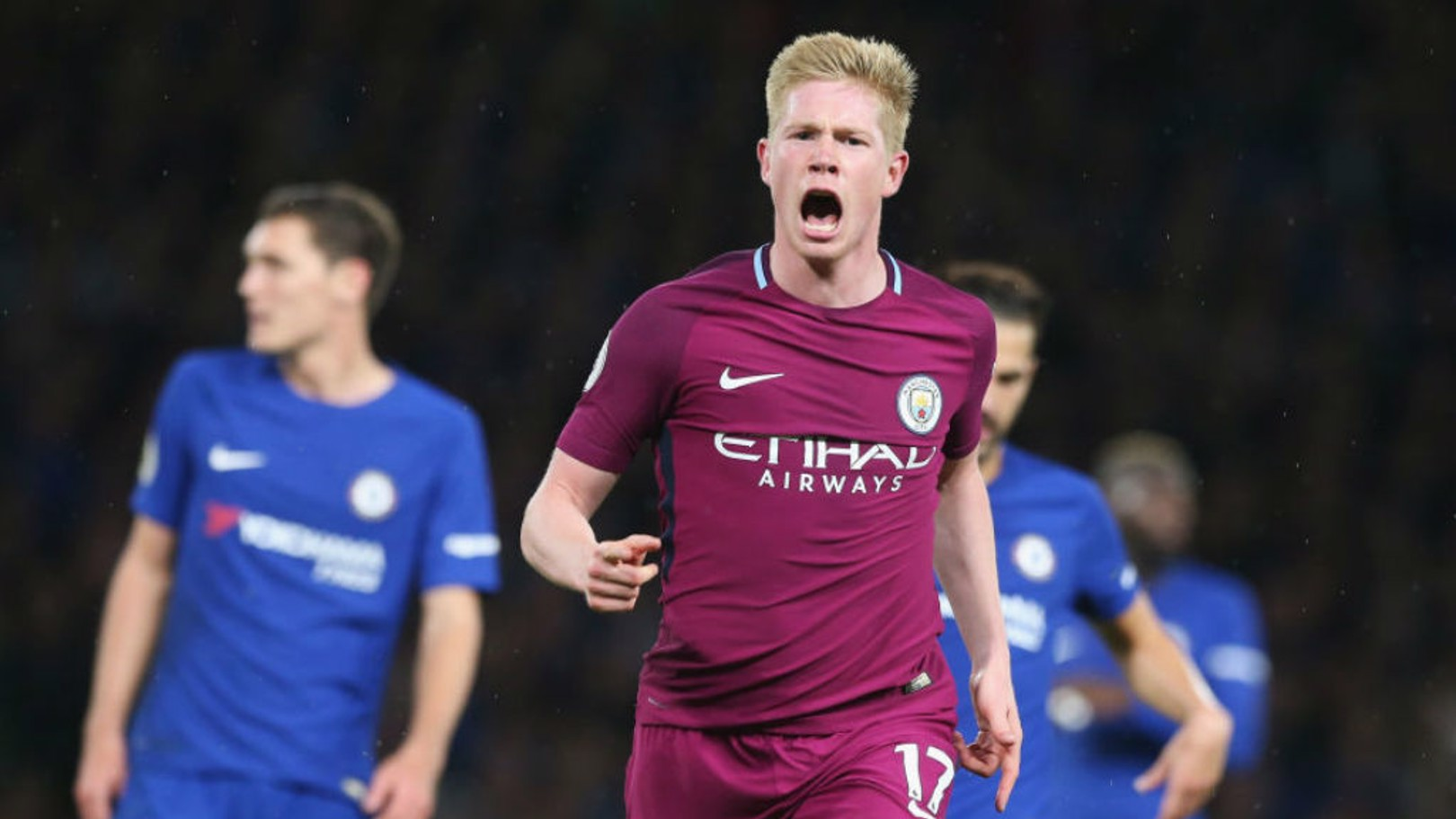 SPECIAL K: Kevin De Bruyne celebrates after his wondergoal in a crucial win at Chelsea