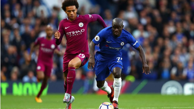 ON YOUR MARKS: Leroy Sane chases down N'golo Kante