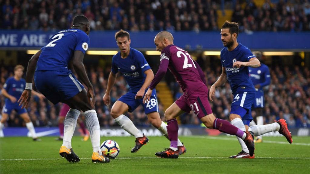 MAGIC TOUCH: David Silva creates havoc in the Chelsea defence