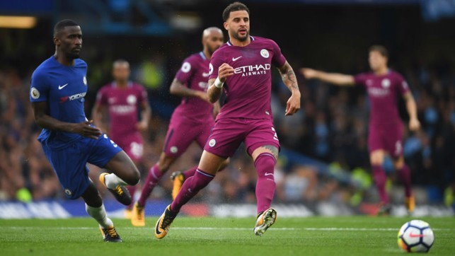 WATCHING BRIEF: Kyle Walker looks to keep out a Chelsea attack