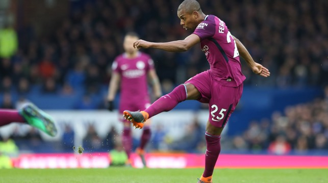 LYNCHPIN: Fernandinho tries his luck from distance.