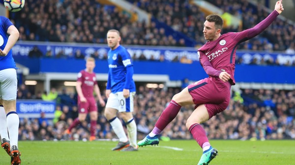 STRIKE: Aymeric Laporte takes aim in the first half.