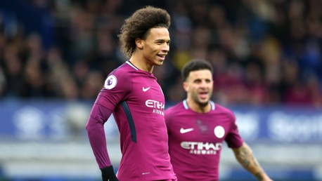 CLINICAL: Leroy Sané fires City into a fourth-minute lead with a wonderful volley.