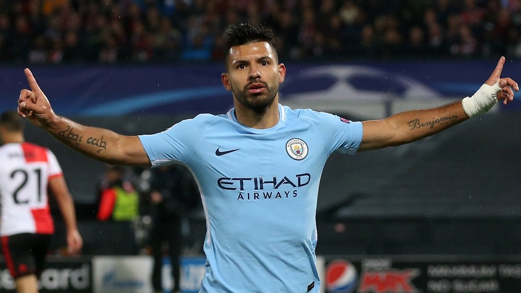 HALF-CENTURION: Sergio Aguero celebrates his 50th European goal