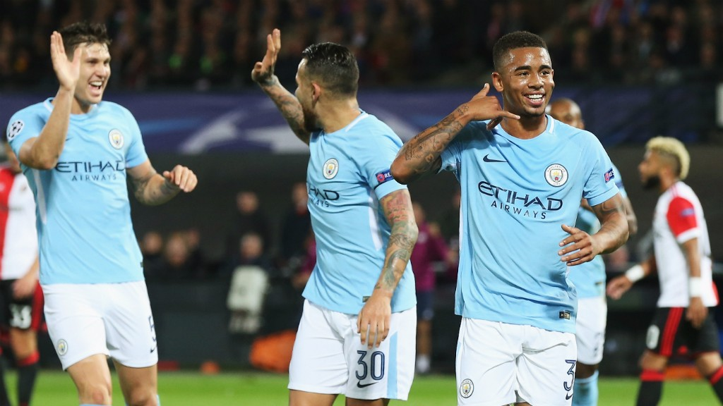 PUSHING FOR A RECALL? Gabriel Jesus (right) scored on his UCL debut against Feyenoord