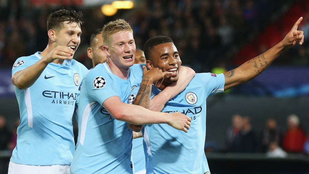 DELIGHT John Stones and Kevin De Bruyne join in the fun