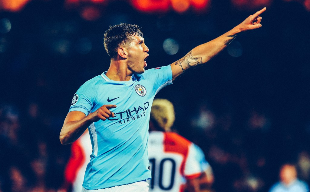 MADE OF STONES: John Stones points to the travelling City fans