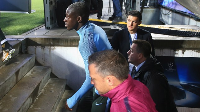 READY: Benjamin Mendy emerges from the tunnel