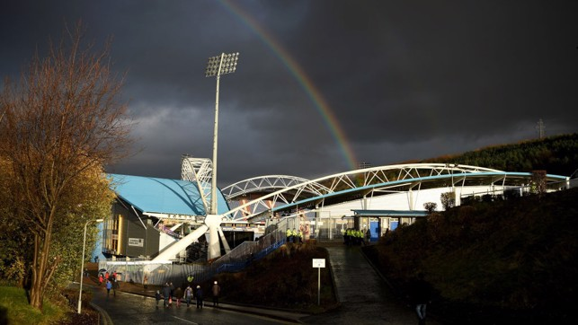 POT OF GOLD: A rainbow welcomed City to the John Smith's Stadium.