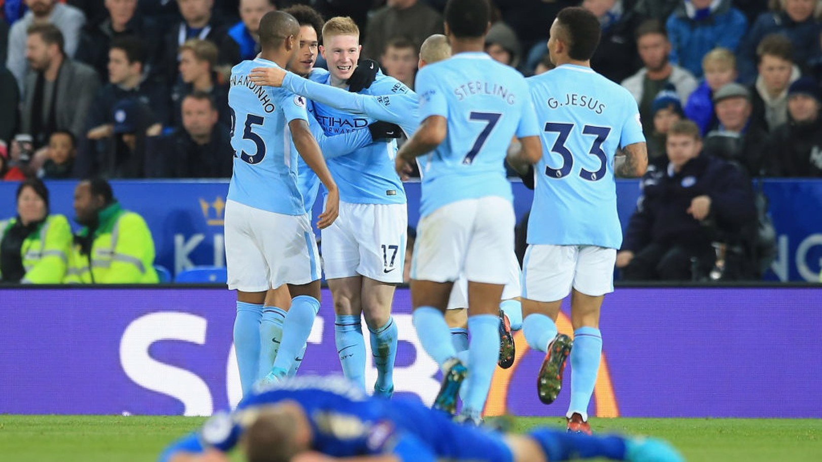 KING POWER PARTY: The City players celebrate Kevin De Bruyne's wonder goal.